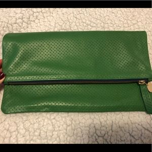Clare V green perforated foldover clutch